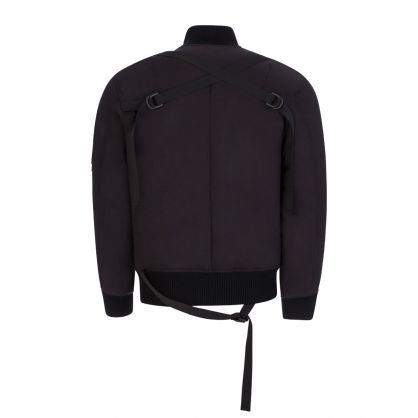 Black Strapped Bomber Jacket