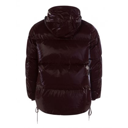 Red Liquid Nylon Puffer Jacket
