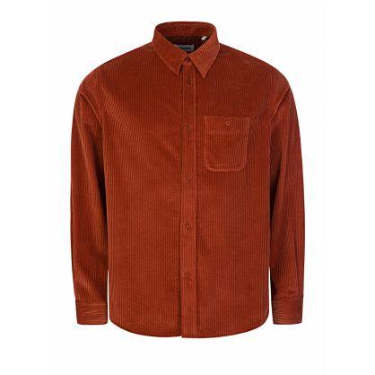 Orange Casual Cord Overshirt