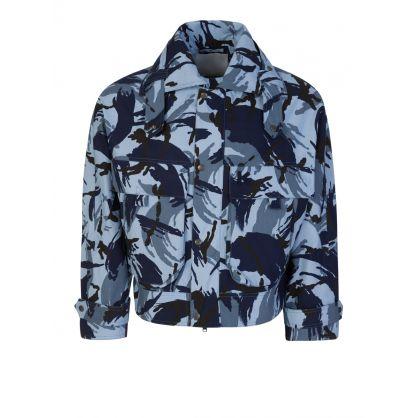 Blue Military-Print Bomber Jacket