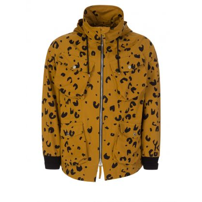 Beige Printed Utilitarian Parka Jacket