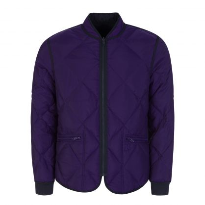 Navy/Purple Tiger Crest Reversible Quilted Bomber Jacket
