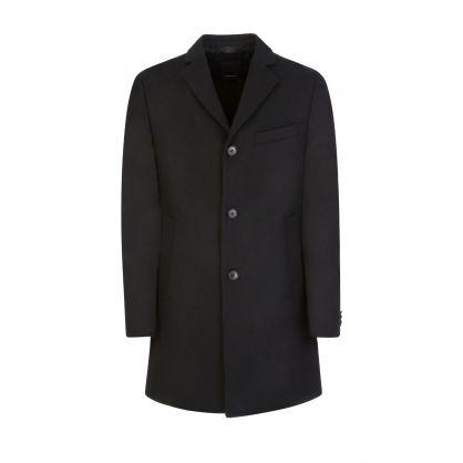 Jet Black Wolger Compact Melton Coat