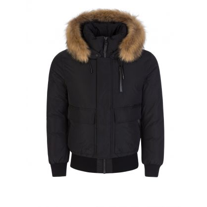 Black Nathan Fur Hooded Down Jacket