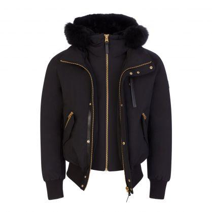 Black/Gold Dixon 2 in 1 Hooded Bomber Jacket