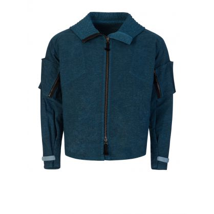 Blue Nylon Canvas Bomber Jacket