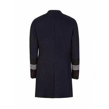 Navy Wool Stripe Cuff Overcoat