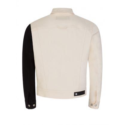 """Beige/Black/White """"Bauhaus Modernist"""" Denim Jacket"""
