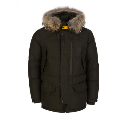 Green Harraseeket Fur Hooded Jacket