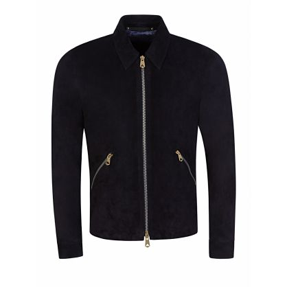 Navy Lamb Suede Leather Bomber Jacket