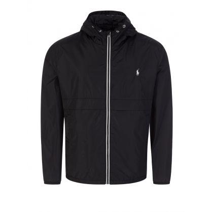 Black Water-Repellent Hooded Jacket