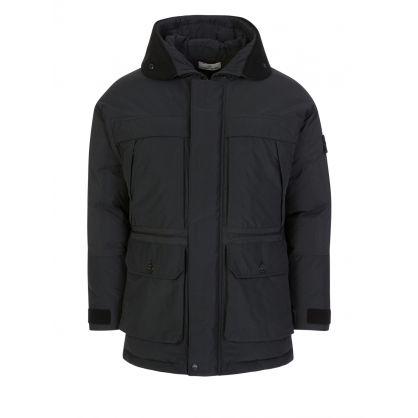 Black Micro Reps Down Hooded Jacket