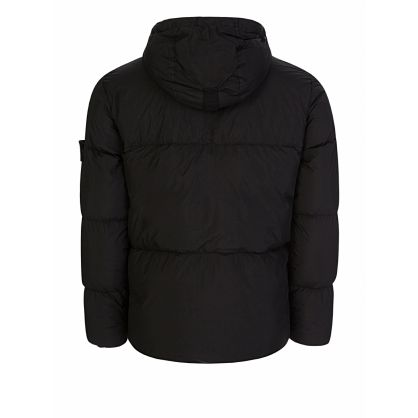 Black Crinkle Rep Down Puff Hooded Jacket