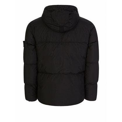 Black Crinkle Rep Down Puff Hooded Jacket
