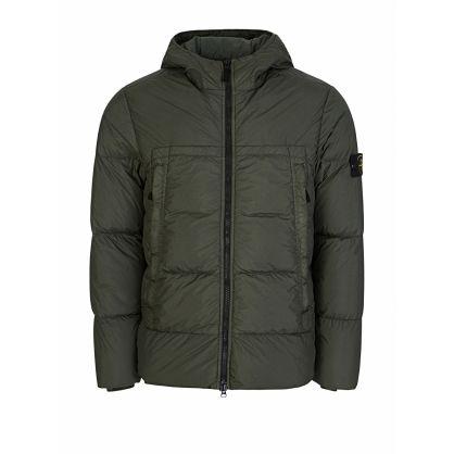 Green Crinkle Rep Down Puff Hooded Jacket