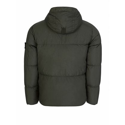 Green Crinkle Rep Down Puff Hooded Jacket