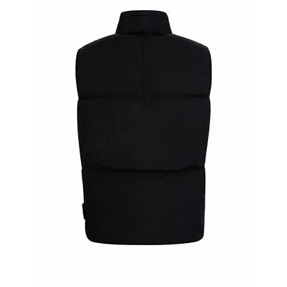 Black Garment-Dyed Crinkle Reps Gilet