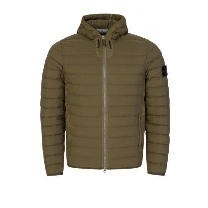 Green Loom Woven Down Chambers Hooded Jacket