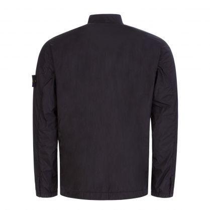 Black Garment-Dyed Crinkle NY-TC Overshirt