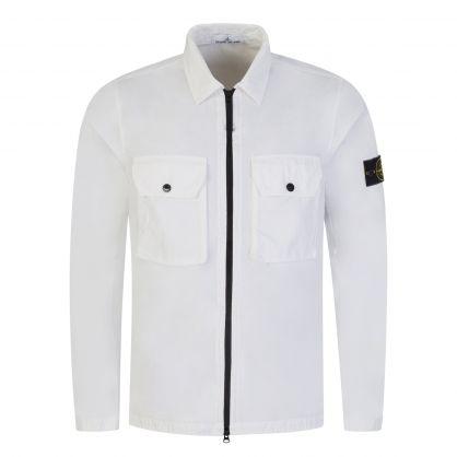 White Brushed Cotton Canvas Overshirt