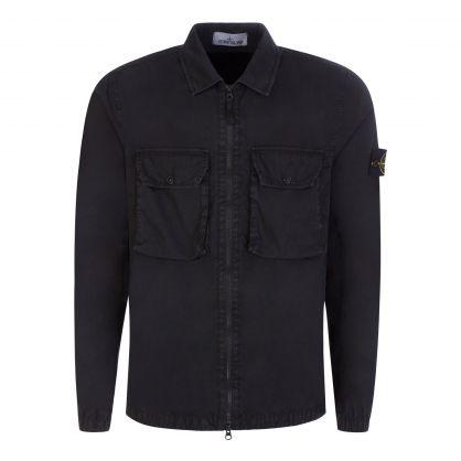Black Brushed Cotton Canvas Overshirt