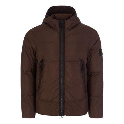 Dark Brown Garment Dyed Crinkle Reps NY Down Coat