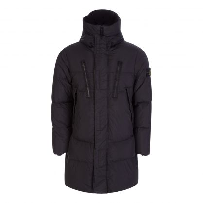 Black Garment-Dyed Crinkle Reps NY Down Coat