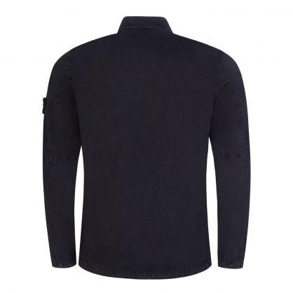 Navy Blue Brushed Cotton Canvas Overshirt