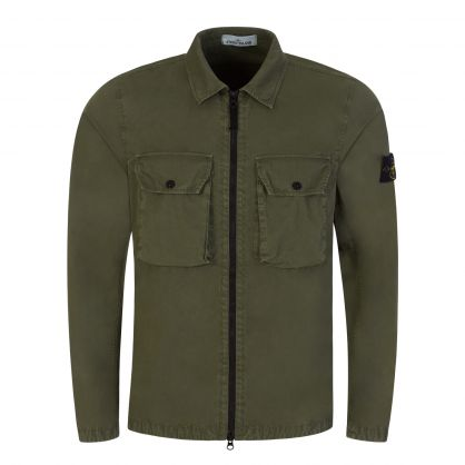 Green Brushed Cotton Canvas Overshirt