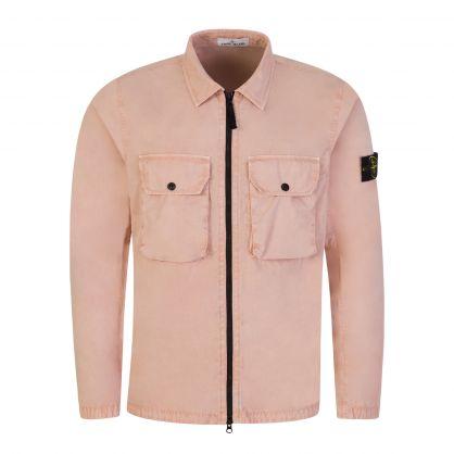 Pink Brushed Cotton Canvas Overshirt