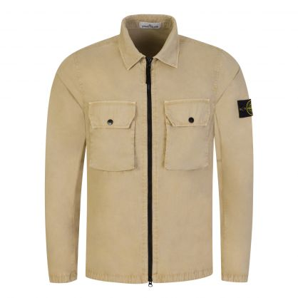 Beige Brushed Cotton Canvas Overshirt