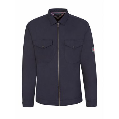 Navy Peached Nylon Overshirt