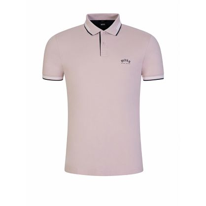 Menswear Pink Slim-Fit Curved Logo Polo Shirt