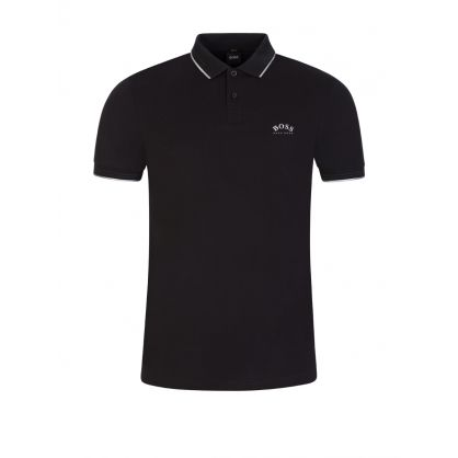 Black Slim-Fit Athleisure Paul Curved Polo Shirt