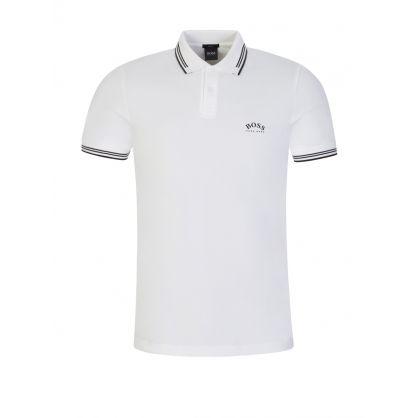 White Paul Curved Logo Polo Shirt