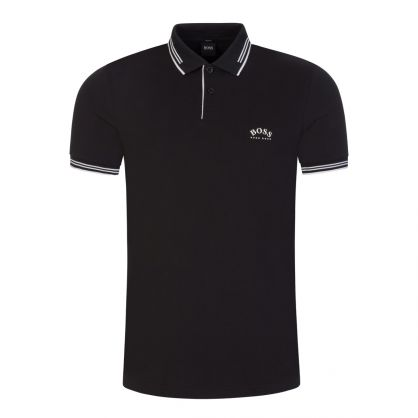 Black Paul Curved Logo Polo Shirt