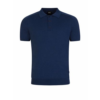 Menswear Navy Ipaolo Knitted Polo Shirt