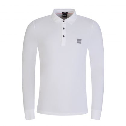 White Passerby Long Sleeve Polo Shirt