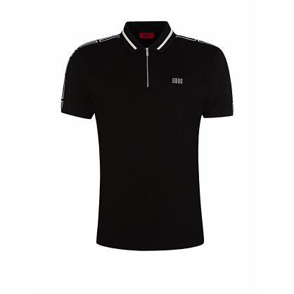 Black Dolmar203 Zip-Neck Polo Shirt