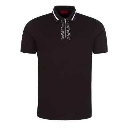 Black Zip-Neck Cropped Logo Polo Shirt