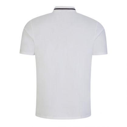 White Zip-Neck Cropped Logo Polo Shirt