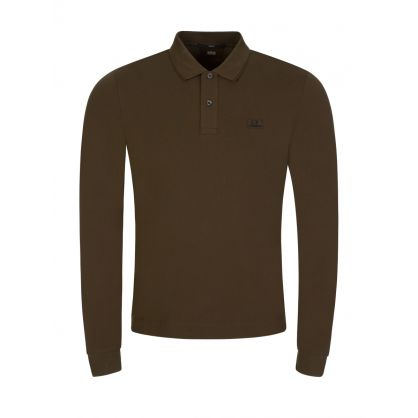 Green Stretch Cotton Polo Shirt