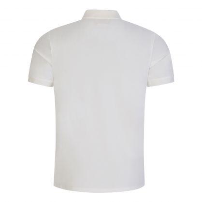 White Stretch Pique Logo Badge Polo Shirt