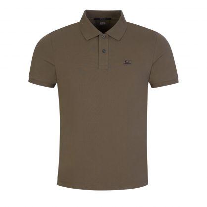 Grey Stretch Pique Logo Badge Polo Shirt
