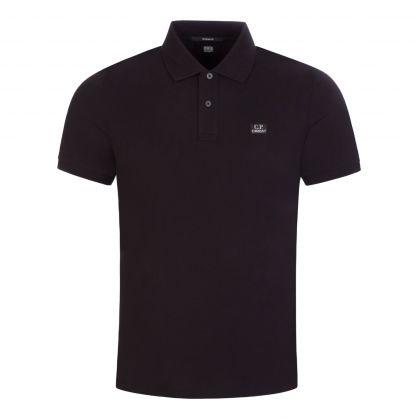 Black Stretch Pique Logo Badge Polo Shirt