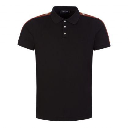 Black Leaf Logo Tape Polo Shirt