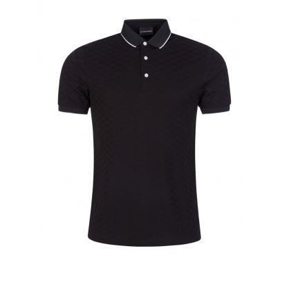 Black All-Over Monogram Polo Shirt