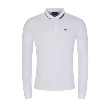 White Small Logo Tipped Polo Shirt