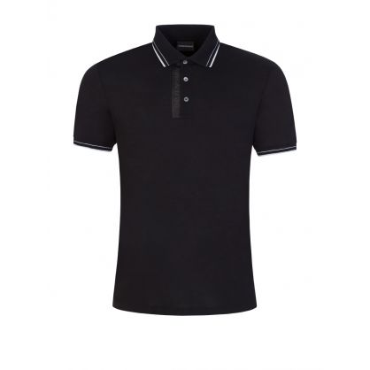 Black Logo Tape Polo Shirt