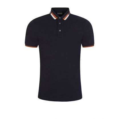 Navy Tipped Logo Collar Polo Shirt
